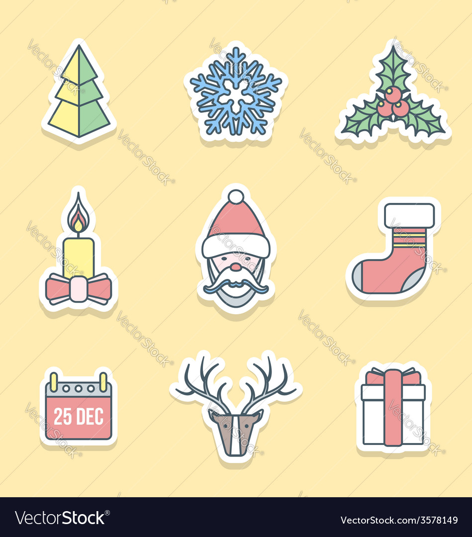 Various christmas outline labels icons set vector | Price: 1 Credit (USD $1)