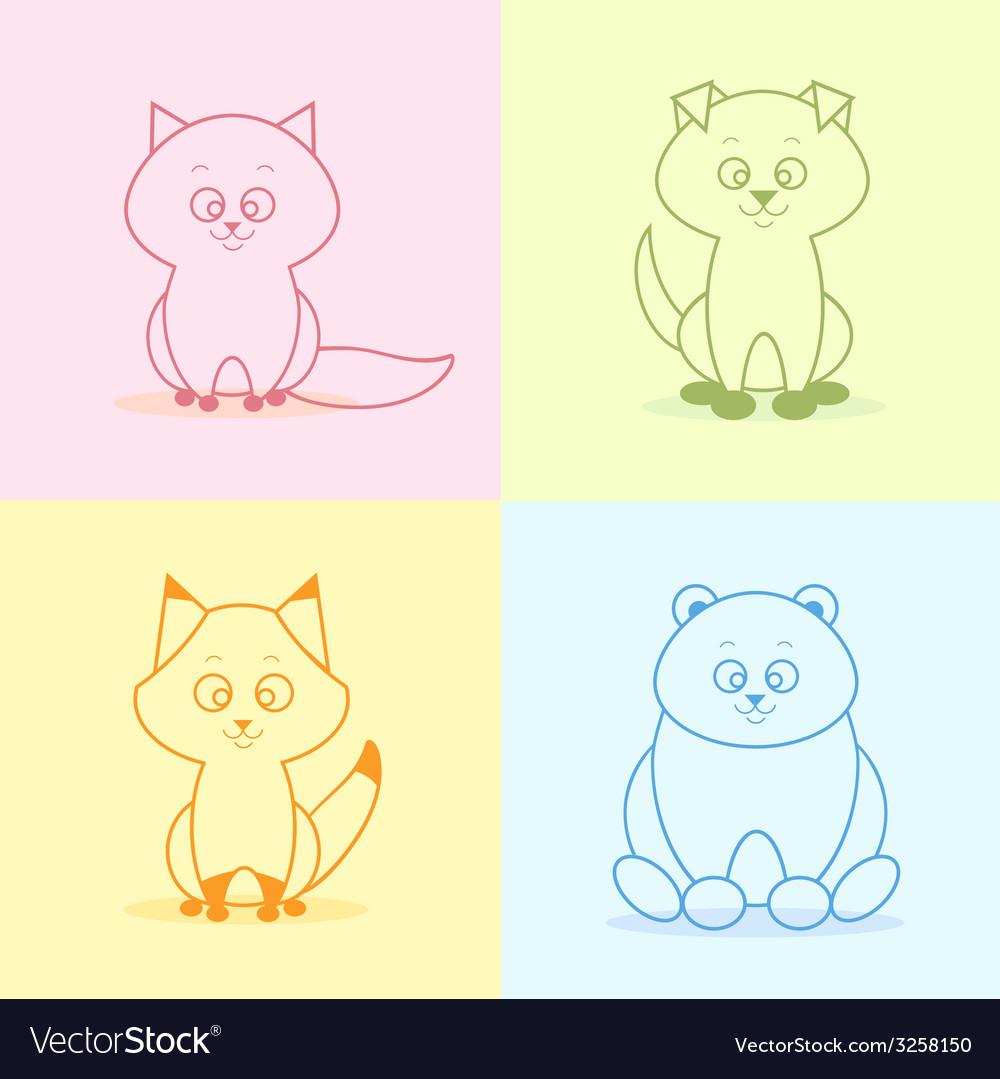 Animals flat set vector | Price: 1 Credit (USD $1)