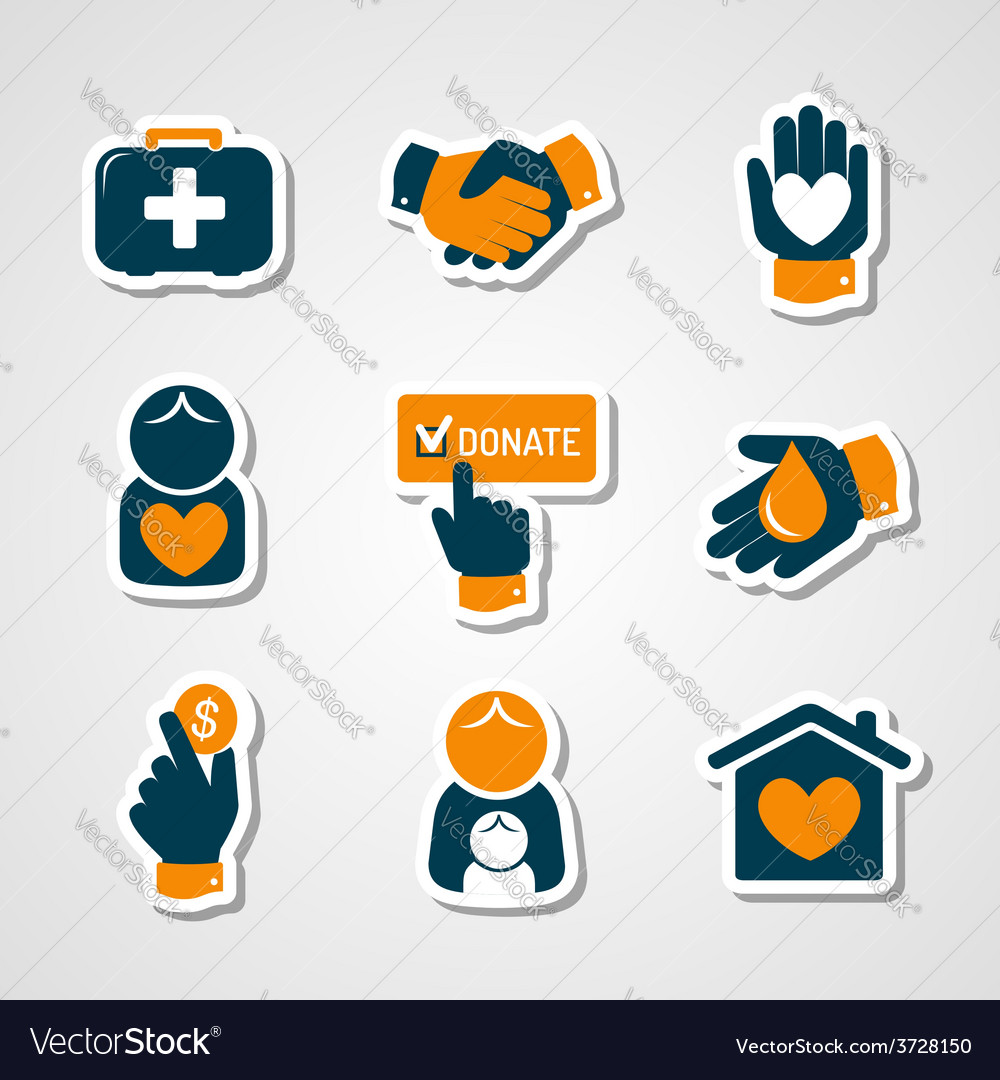 Charity and donation paper cut icons vector | Price: 1 Credit (USD $1)