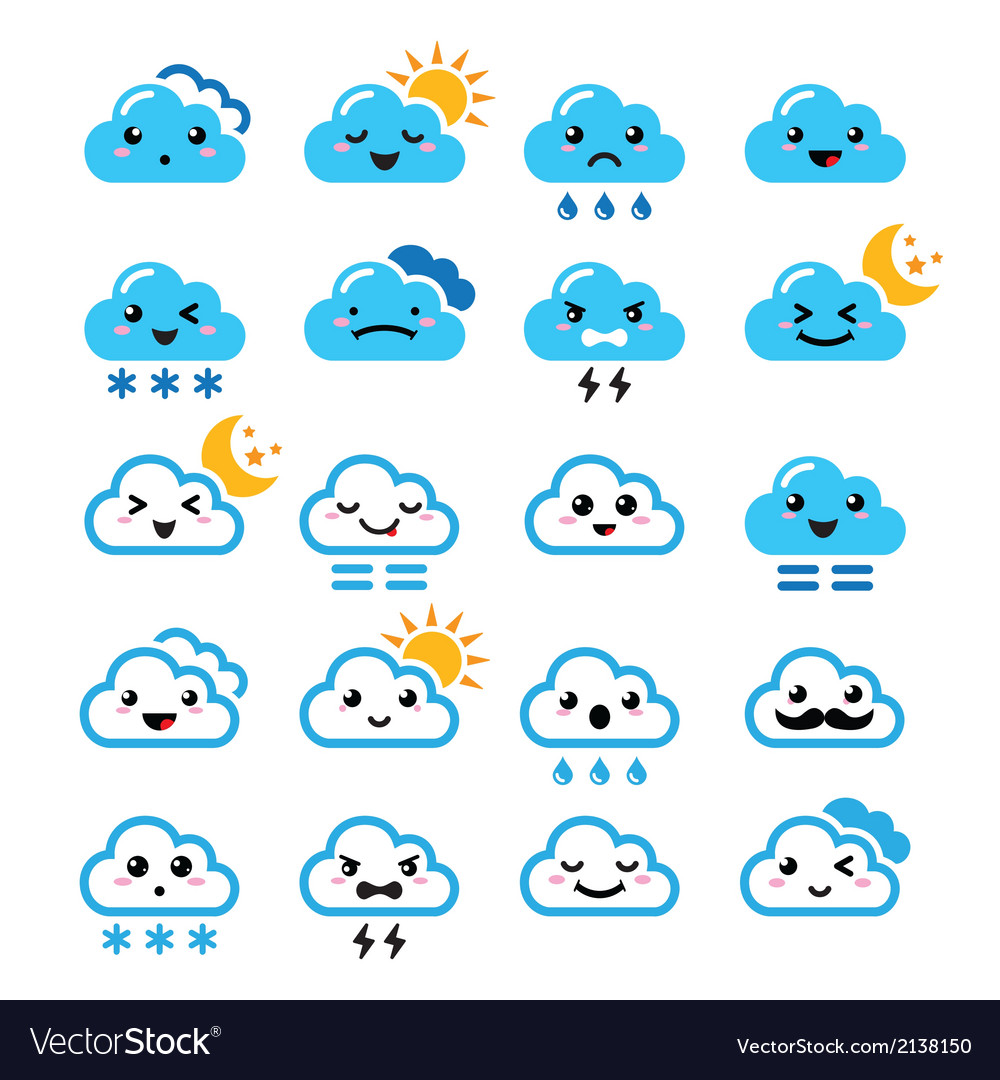 Cute cloud - kawaii manga icons with different vector | Price: 1 Credit (USD $1)
