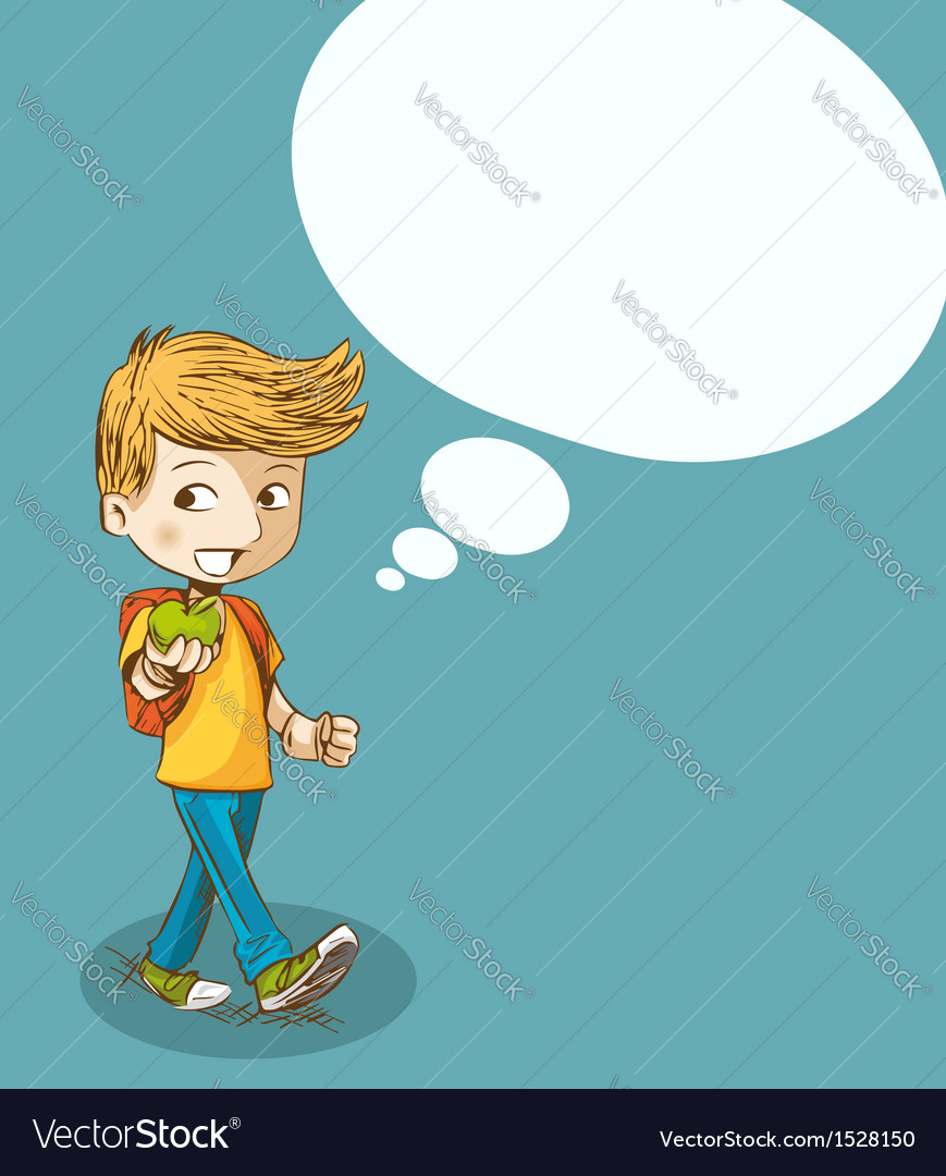 Education back to school boy with social bubble vector | Price: 1 Credit (USD $1)