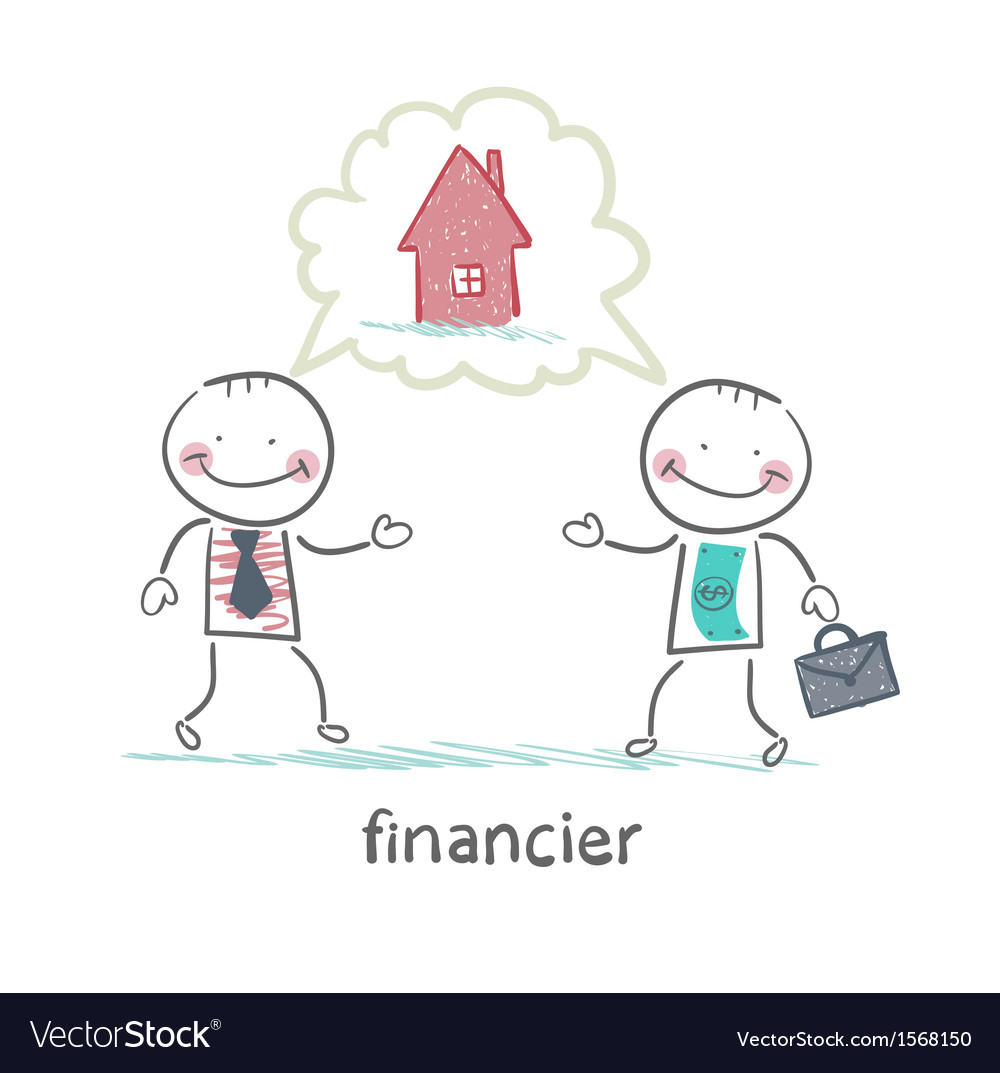 Financier talking with a man about the house vector | Price: 1 Credit (USD $1)