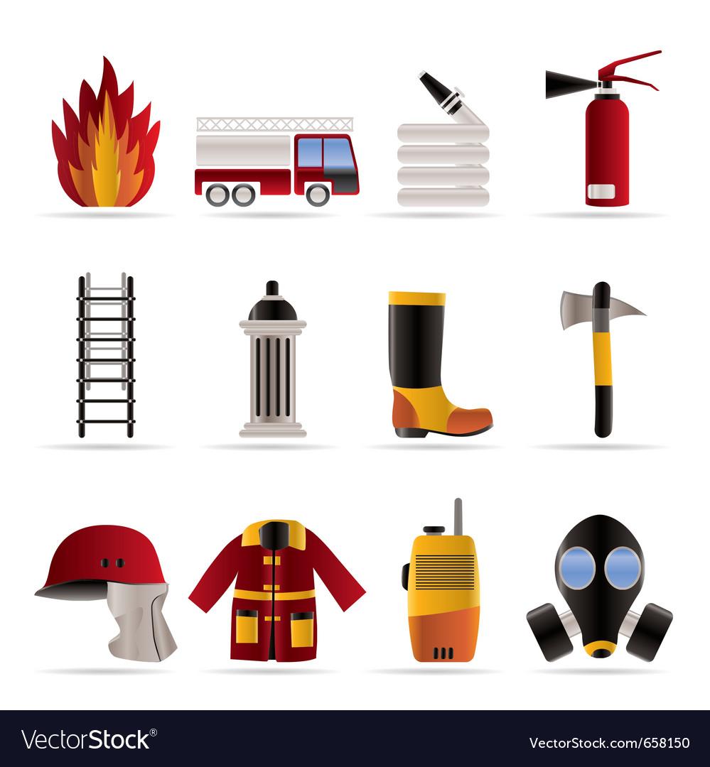 Firebrigade and fireman equipment icon vector