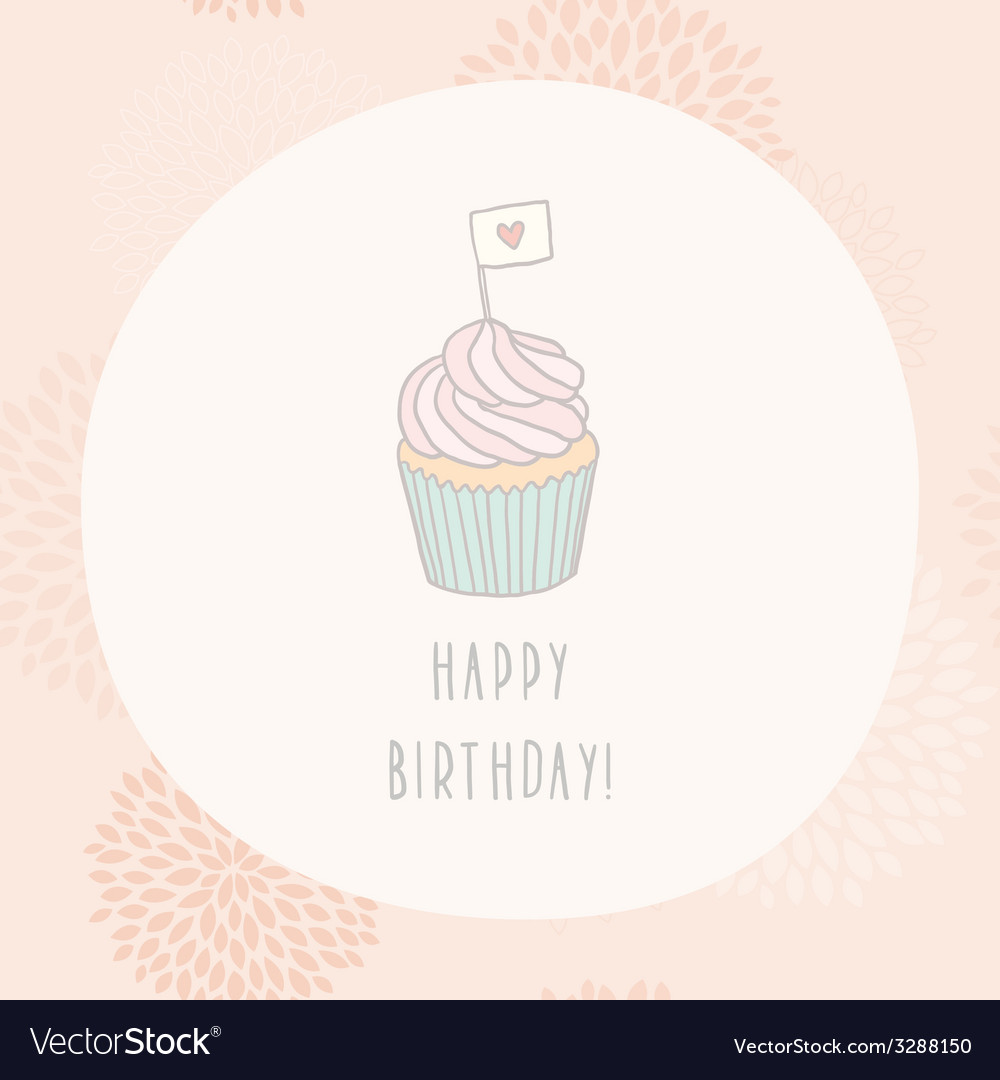 Happy birthday card with cupcake vector | Price: 1 Credit (USD $1)