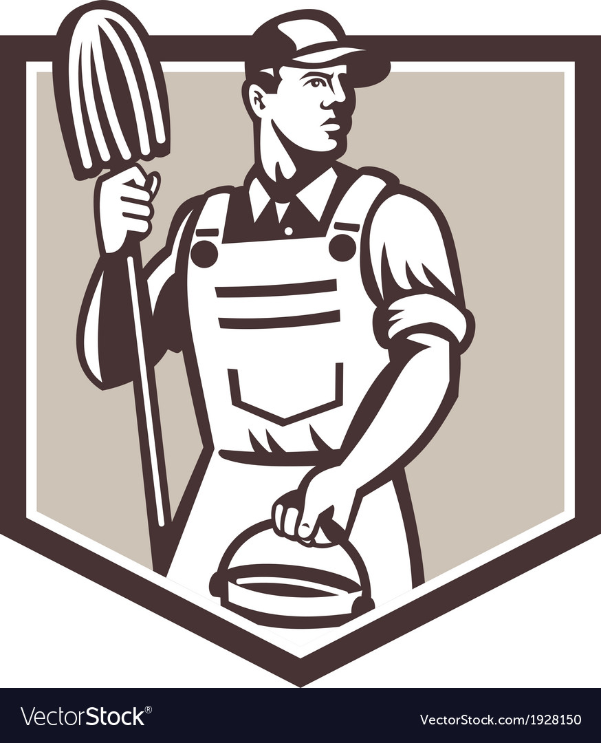 Janitor cleaner holding mop bucket shield retro vector   Price: 1 Credit (USD $1)