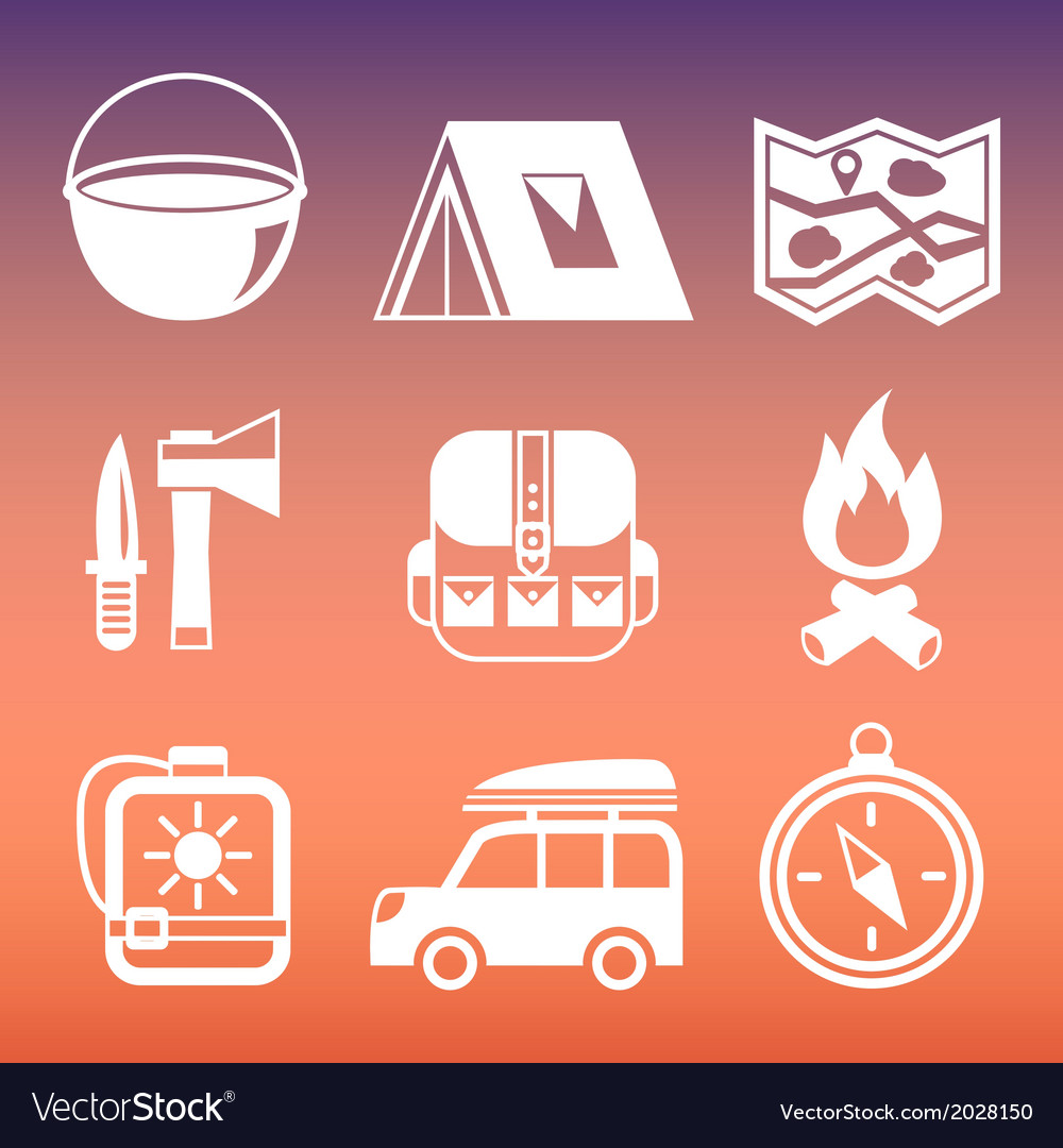 Outdoors camping pictograms collection vector | Price: 1 Credit (USD $1)