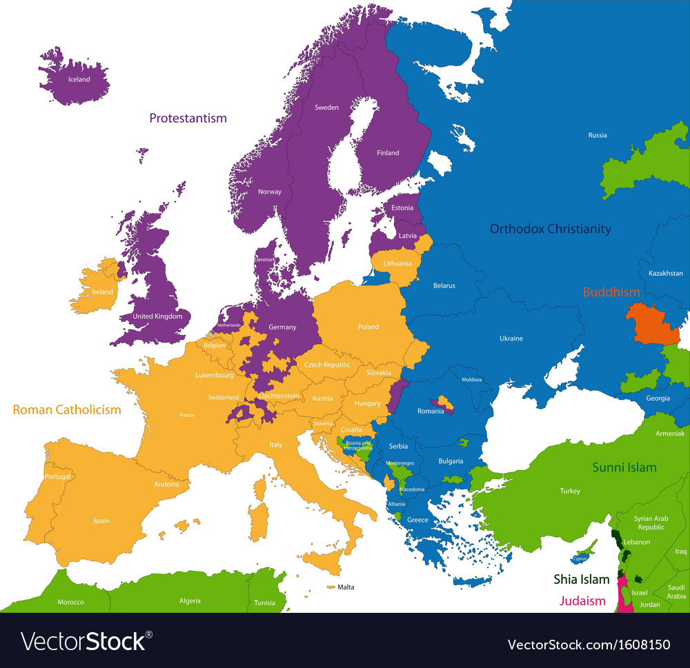 Predominant religious in europe vector | Price: 1 Credit (USD $1)