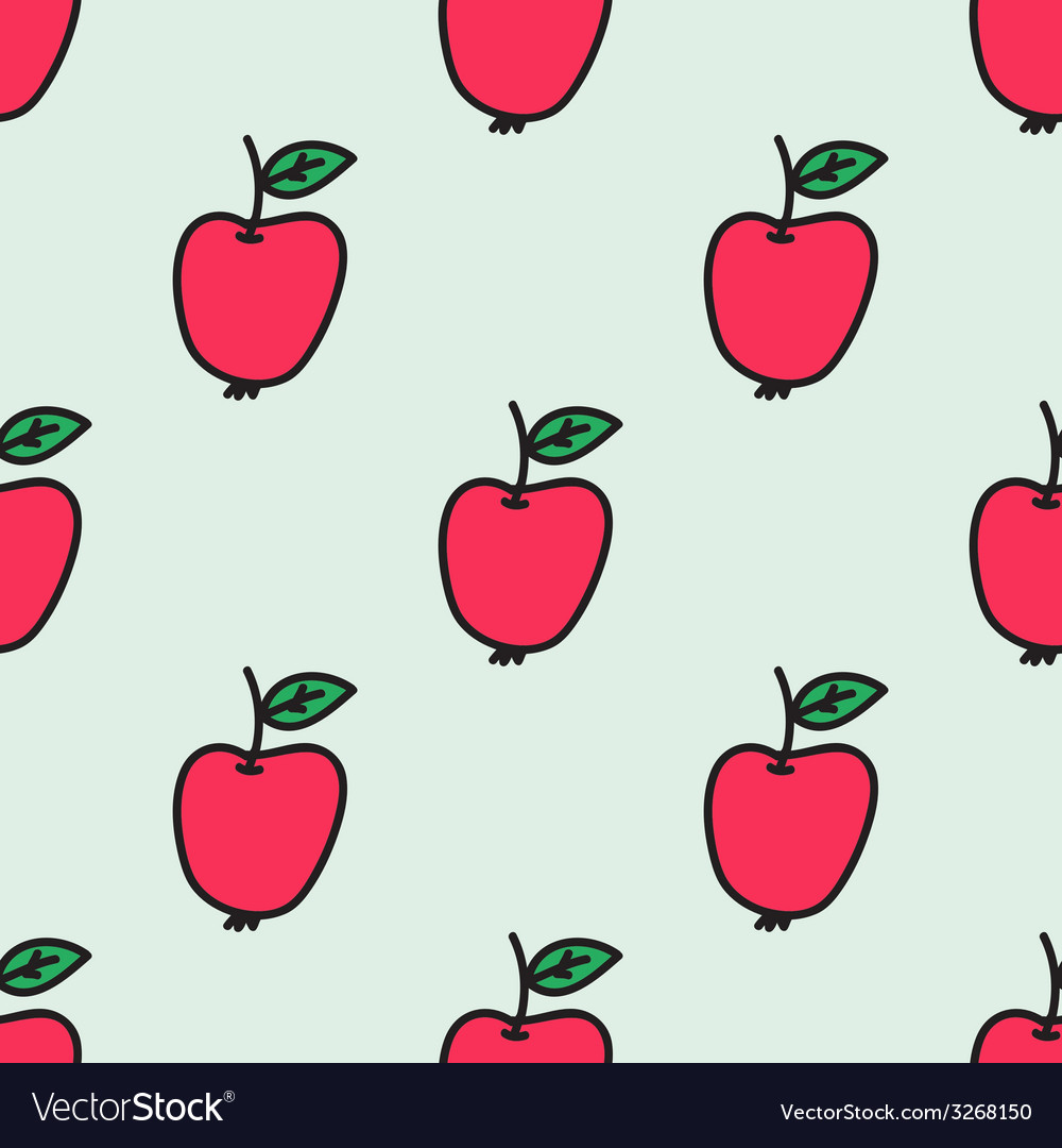 Seamless pattern with apple handdrawn background vector