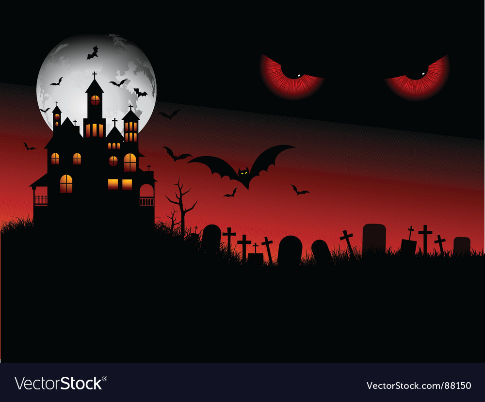 Spooky halloween scene vector | Price: 1 Credit (USD $1)