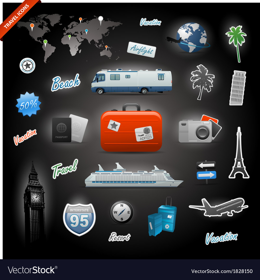 Travel icons elements set vector | Price: 3 Credit (USD $3)