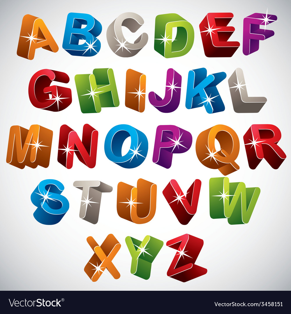 3d font funny colorful alphabet vector | Price: 1 Credit (USD $1)
