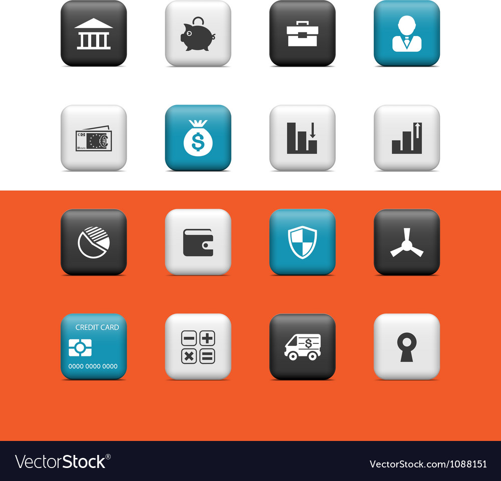 Bank and finance buttons vector | Price: 1 Credit (USD $1)