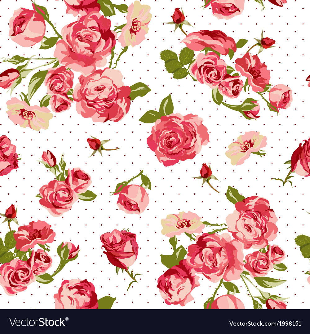 Beautiful seamless vintage background with roses vector | Price: 1 Credit (USD $1)