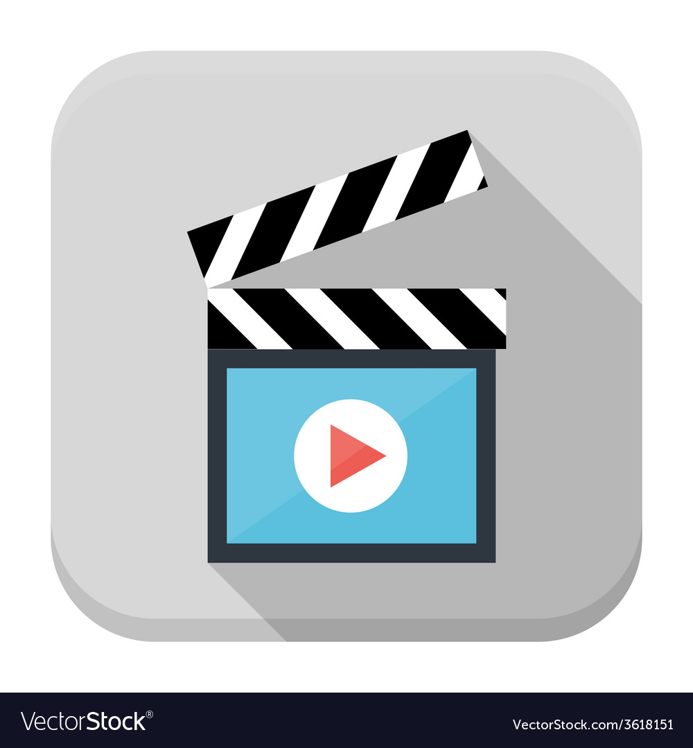 Clapboard flat app icon with long shadow vector | Price: 1 Credit (USD $1)