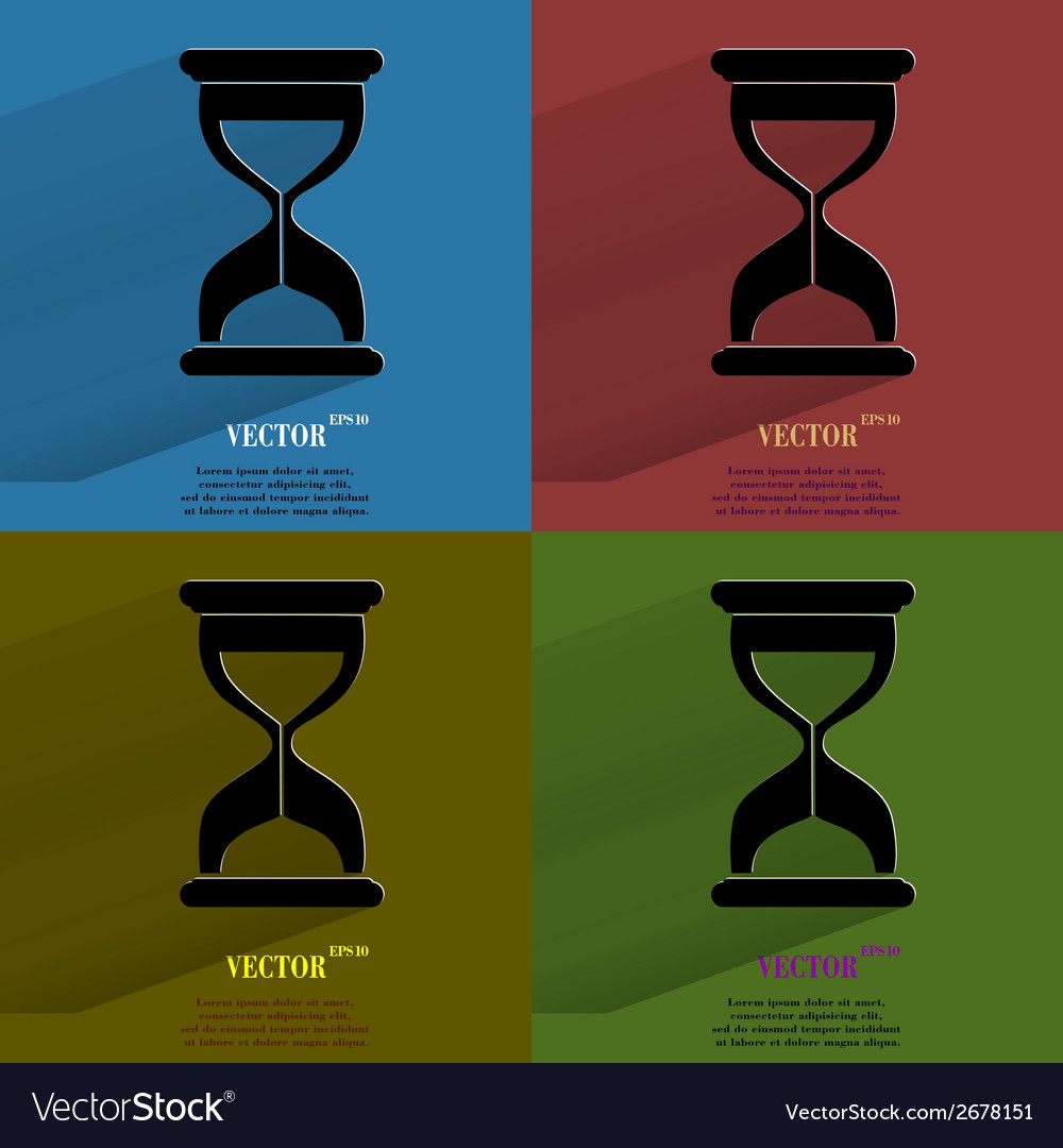 Color set sand clock glass timer  flat modern web vector | Price: 1 Credit (USD $1)