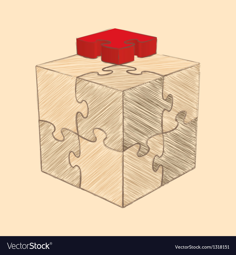 Cube puzzle retro style sketch vector | Price: 1 Credit (USD $1)