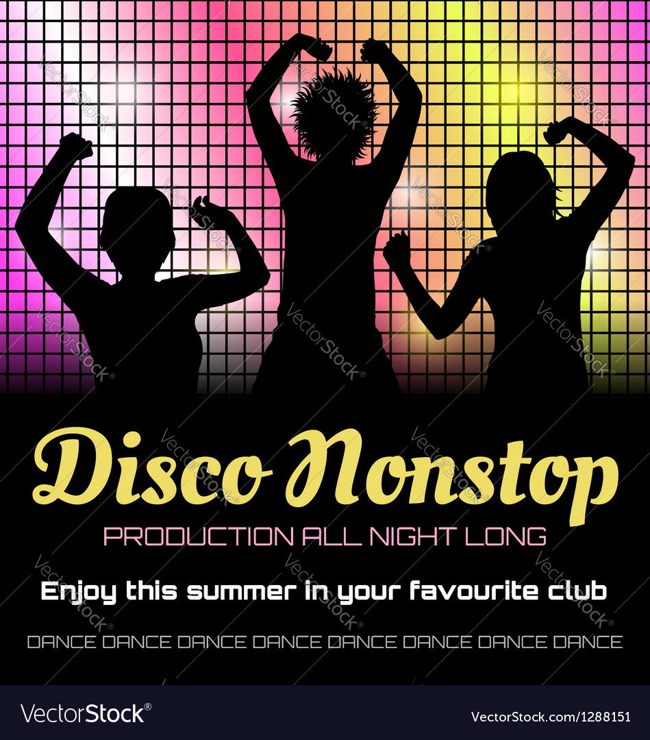 Disco poster with dancers vector | Price: 1 Credit (USD $1)