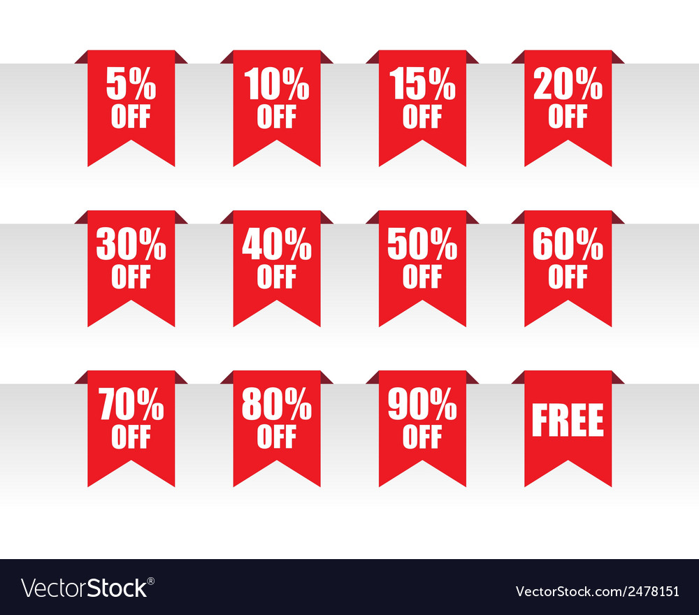 Discount paper tag labels vector | Price: 1 Credit (USD $1)