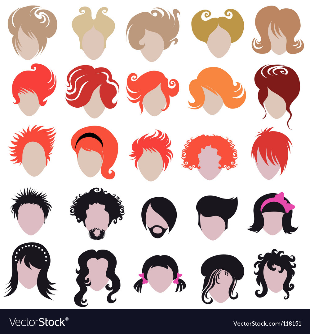 Hair styling icons vector | Price: 1 Credit (USD $1)