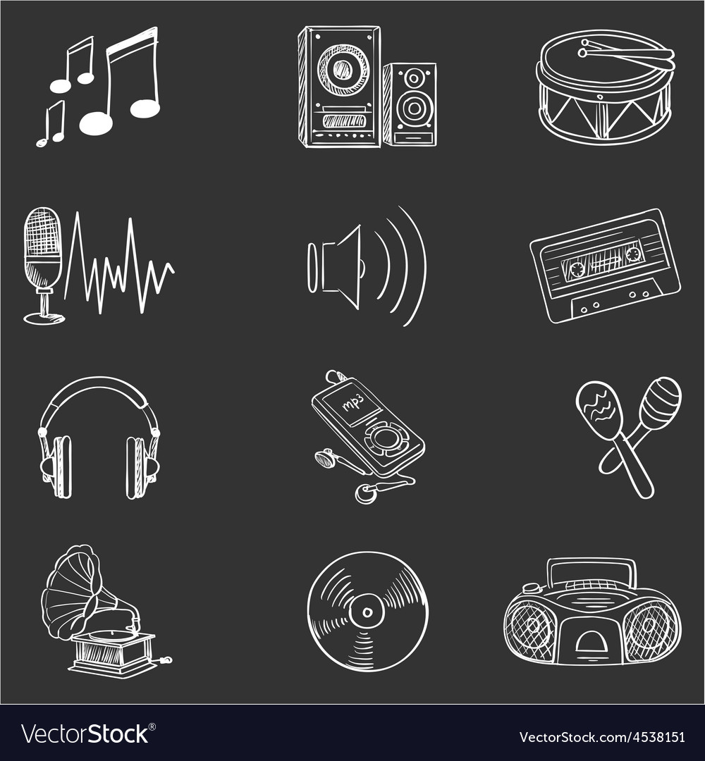 Hand drawn music icon set vector | Price: 1 Credit (USD $1)