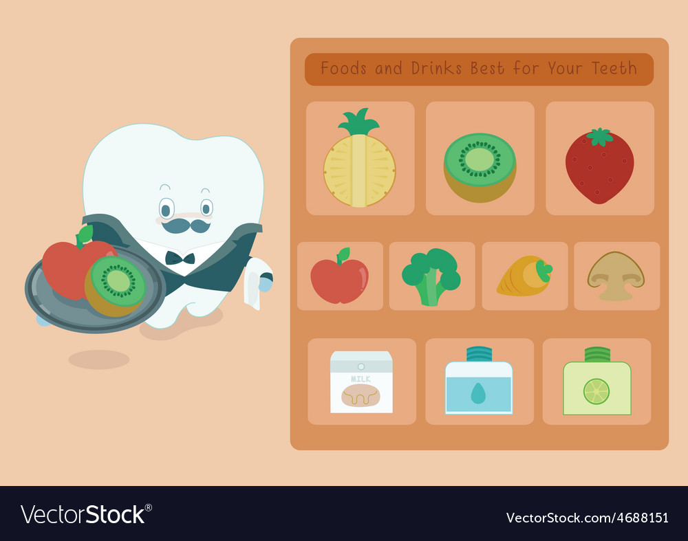 Menu foods and drinks for teeth vector | Price: 1 Credit (USD $1)