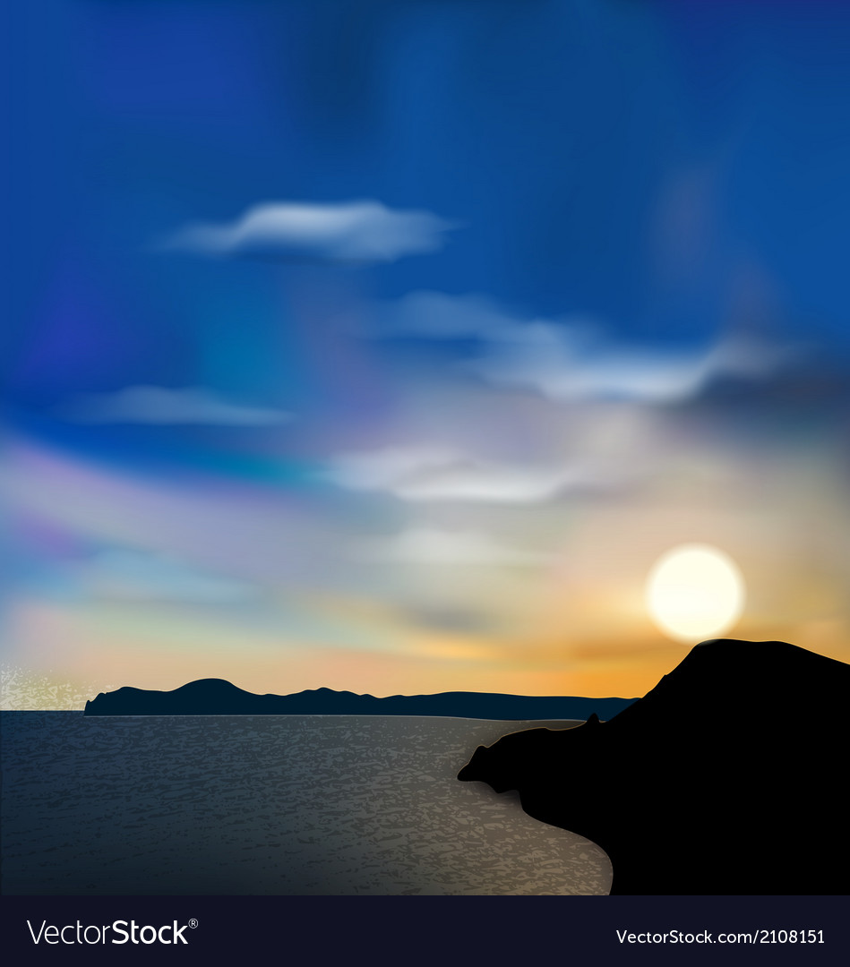 Nature background sea mountain sun sky during vector | Price: 1 Credit (USD $1)