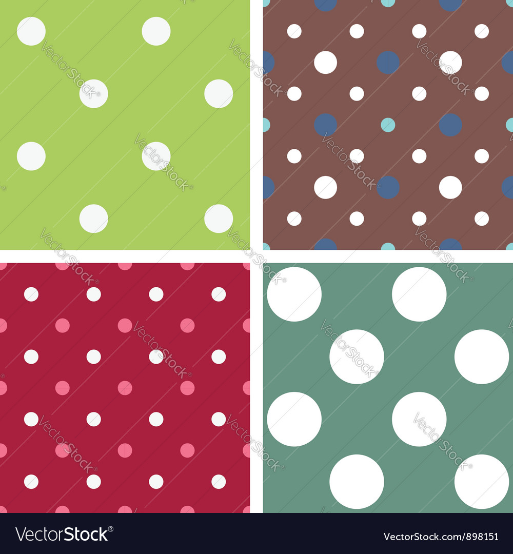 Polka dot seamless patterns vector | Price: 1 Credit (USD $1)