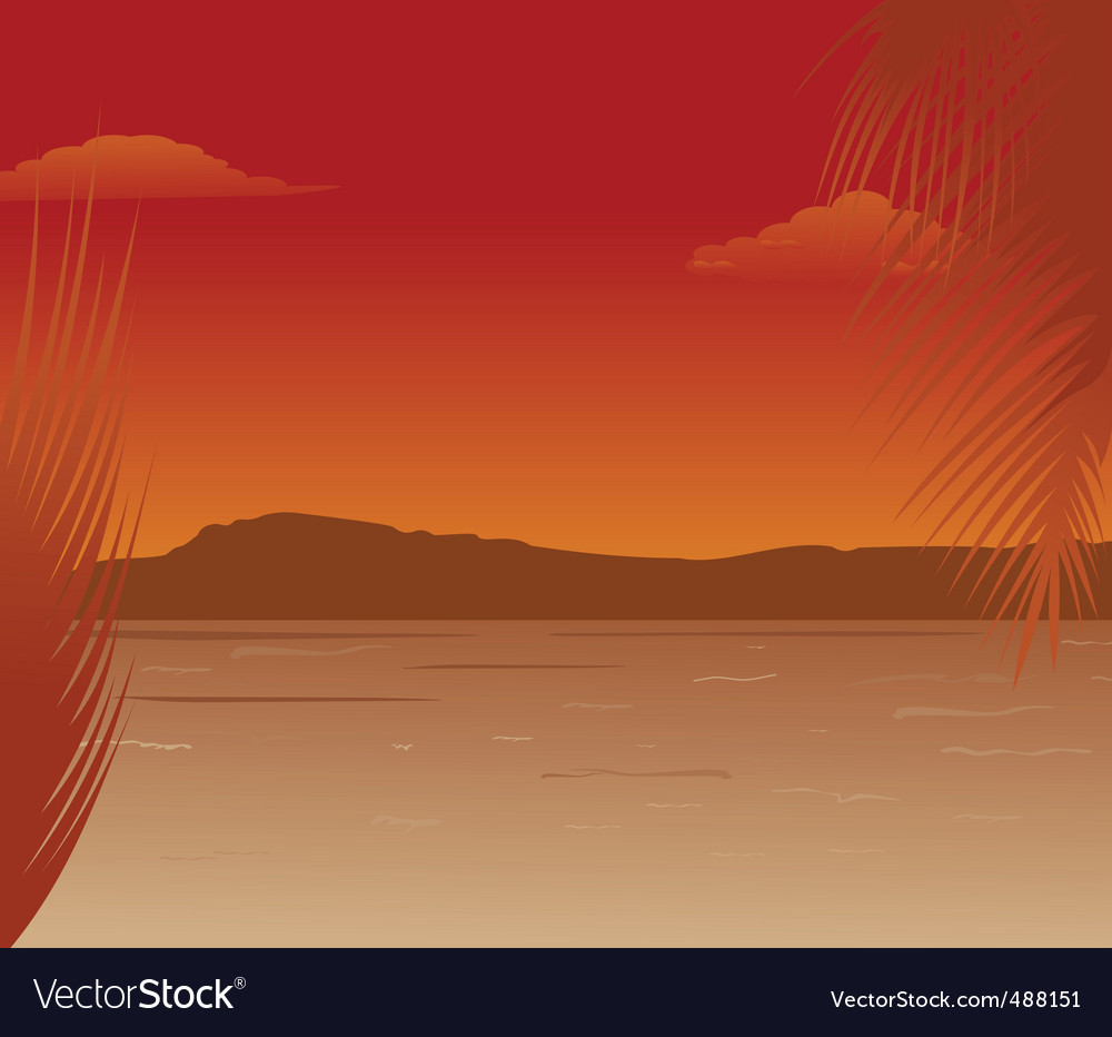 Sea landscape with mountains sunset vector | Price: 1 Credit (USD $1)