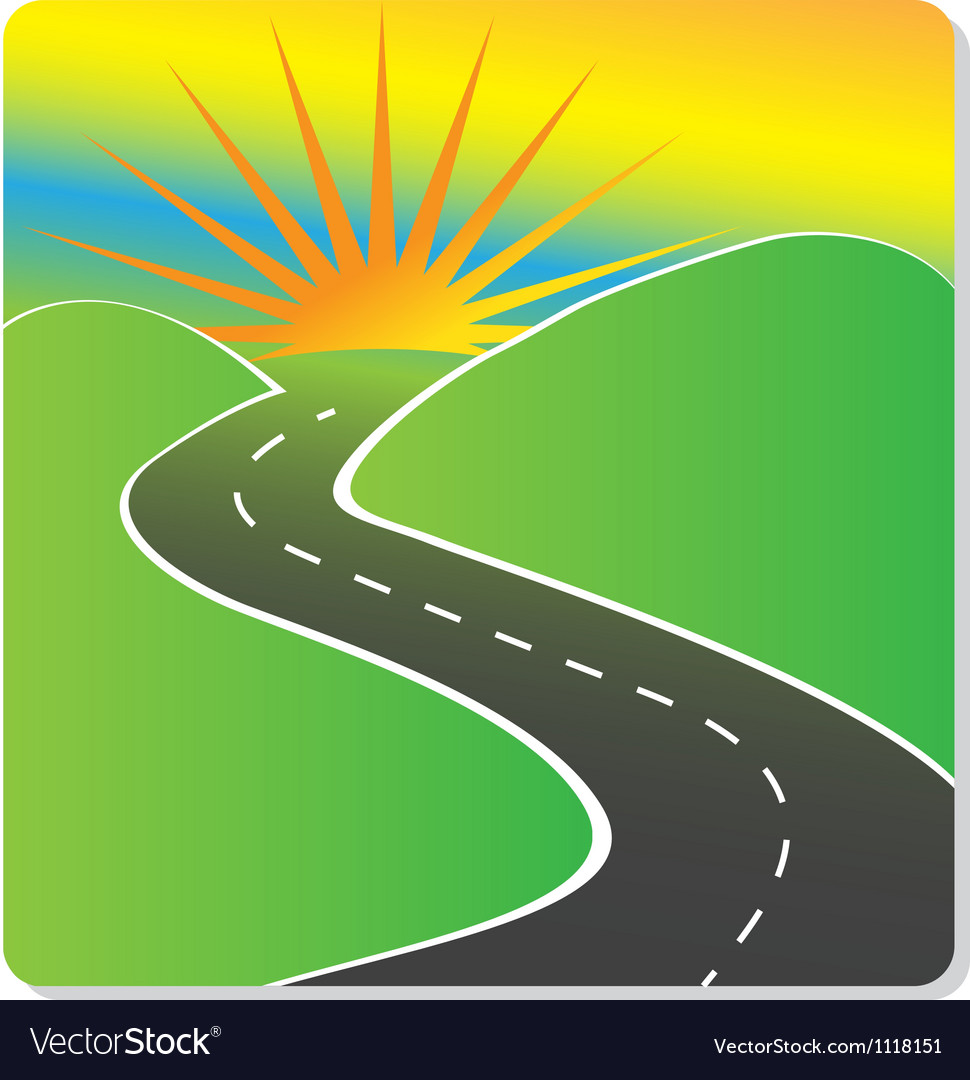 Sun hills and road design vector | Price: 1 Credit (USD $1)
