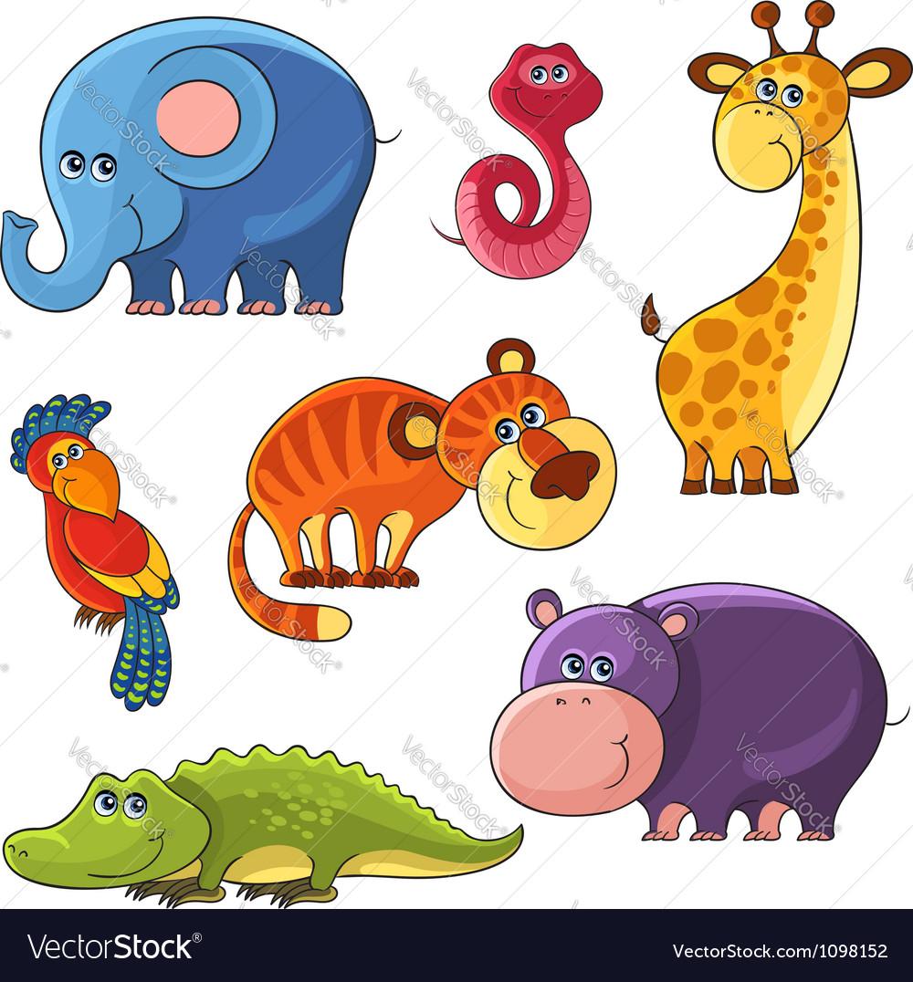African wild animals set vector | Price: 3 Credit (USD $3)
