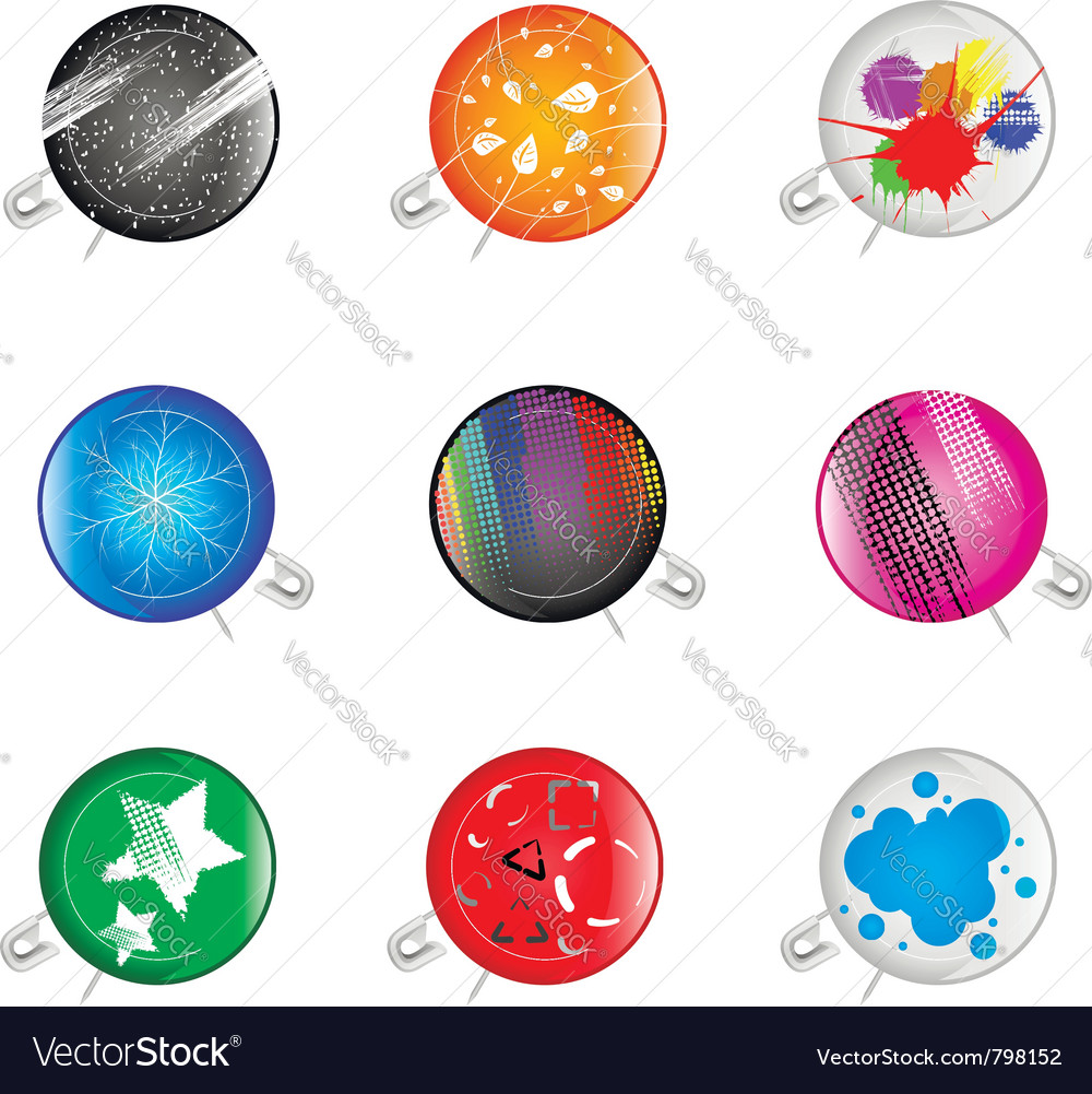 Colorful grunge pins badges vector | Price: 1 Credit (USD $1)