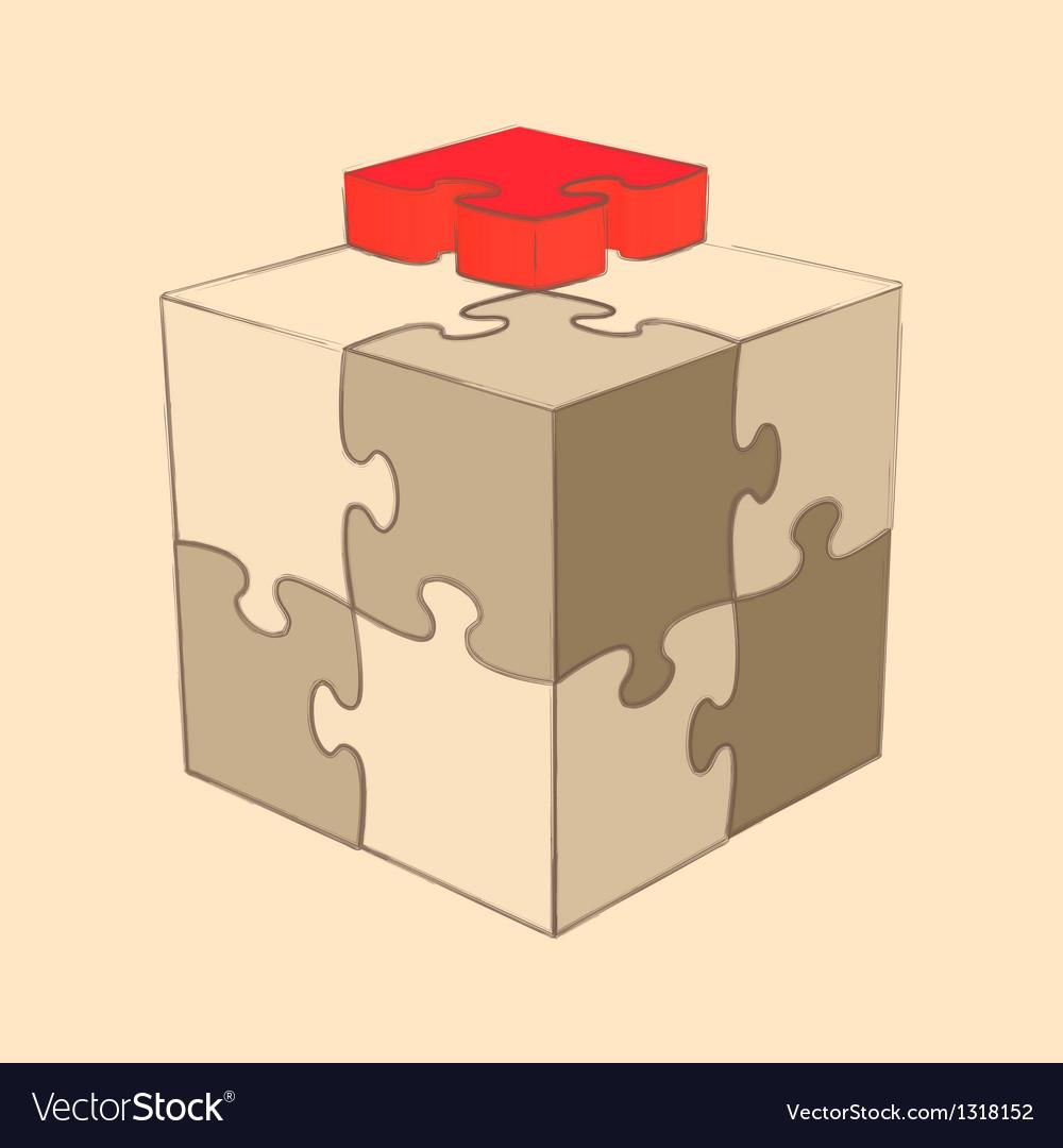 Cube puzzle retro style sketch vector   Price: 1 Credit (USD $1)