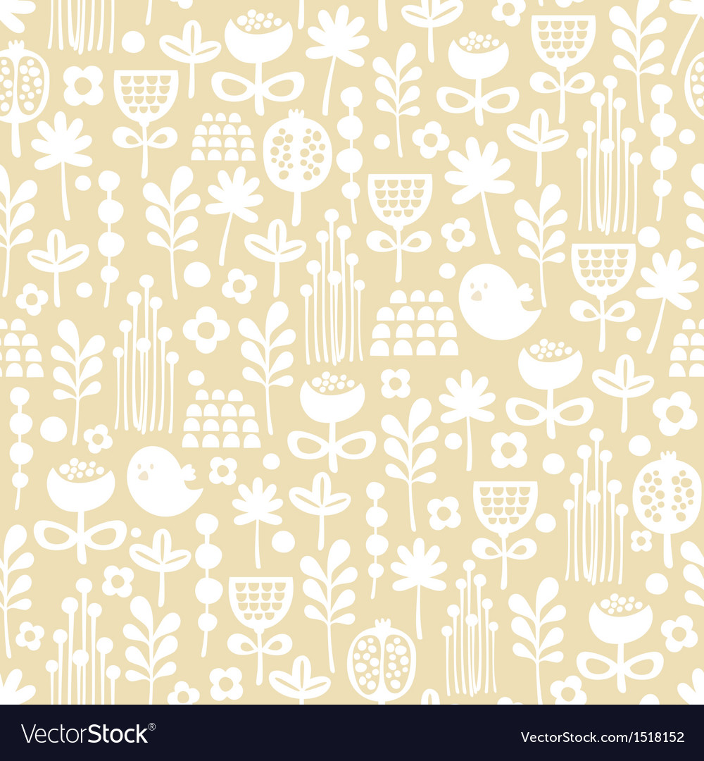 Cute seamless pattern of cartoon birds and flora vector | Price: 1 Credit (USD $1)