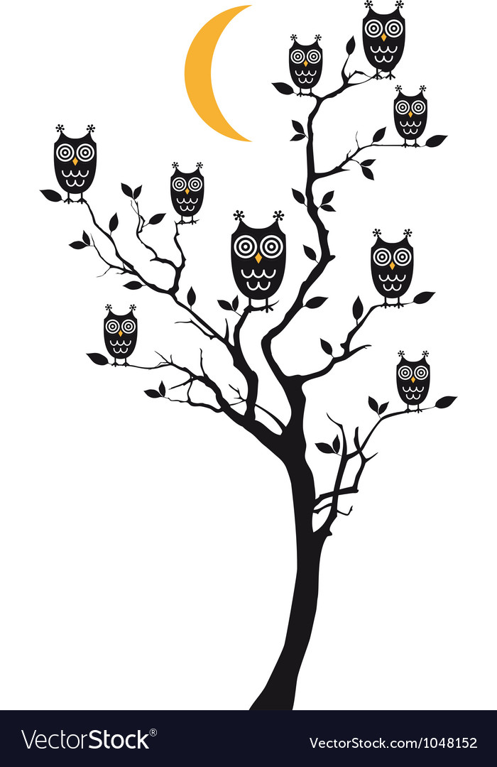 Owls sitting on tree vector | Price: 1 Credit (USD $1)