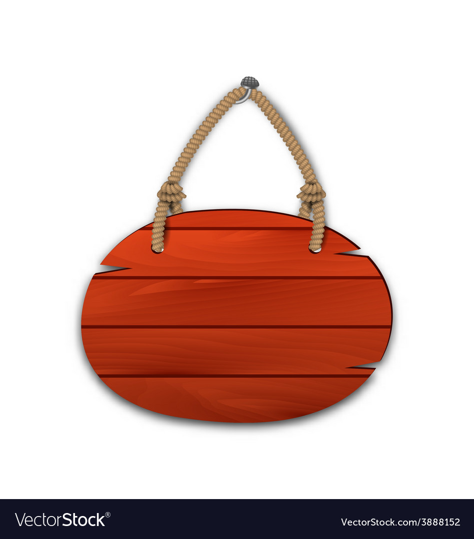 Round wooden billboard with rope hanging on a nail vector