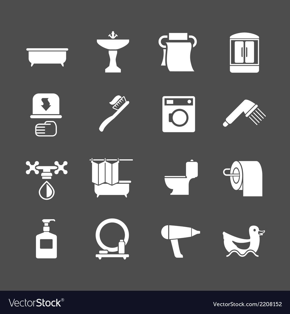 Set icons of bathroom and toilet vector | Price: 1 Credit (USD $1)