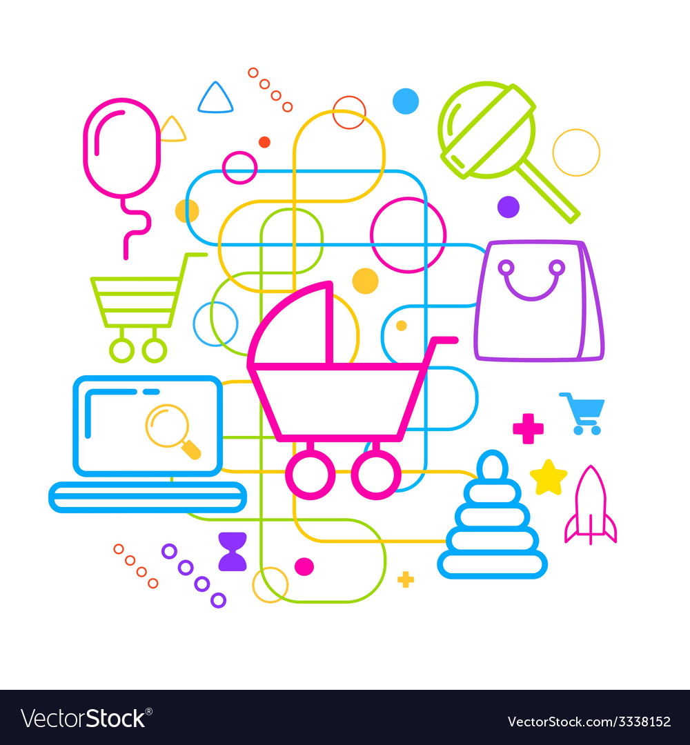 Symbols of selection and purchase of childrens vector | Price: 3 Credit (USD $3)