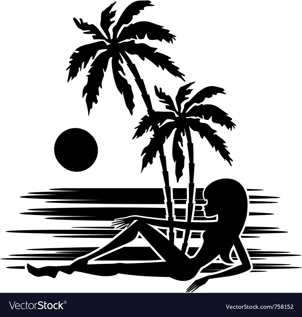Tropics a palm trees vector | Price: 1 Credit (USD $1)