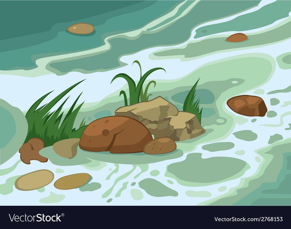 Cartoon grass stones and brook vector | Price: 1 Credit (USD $1)