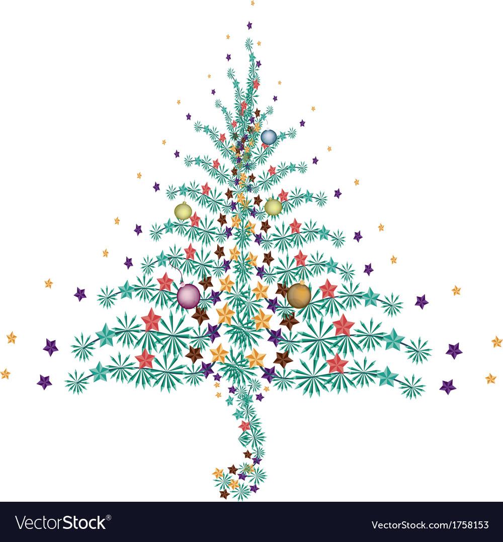 Five christmas balls decoration on christmas tree vector | Price: 1 Credit (USD $1)