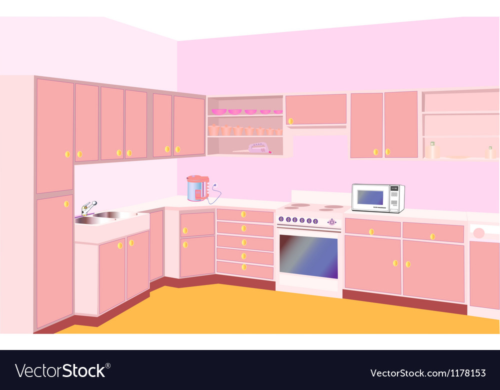 Furniture on kitchen by set modern vector | Price: 3 Credit (USD $3)