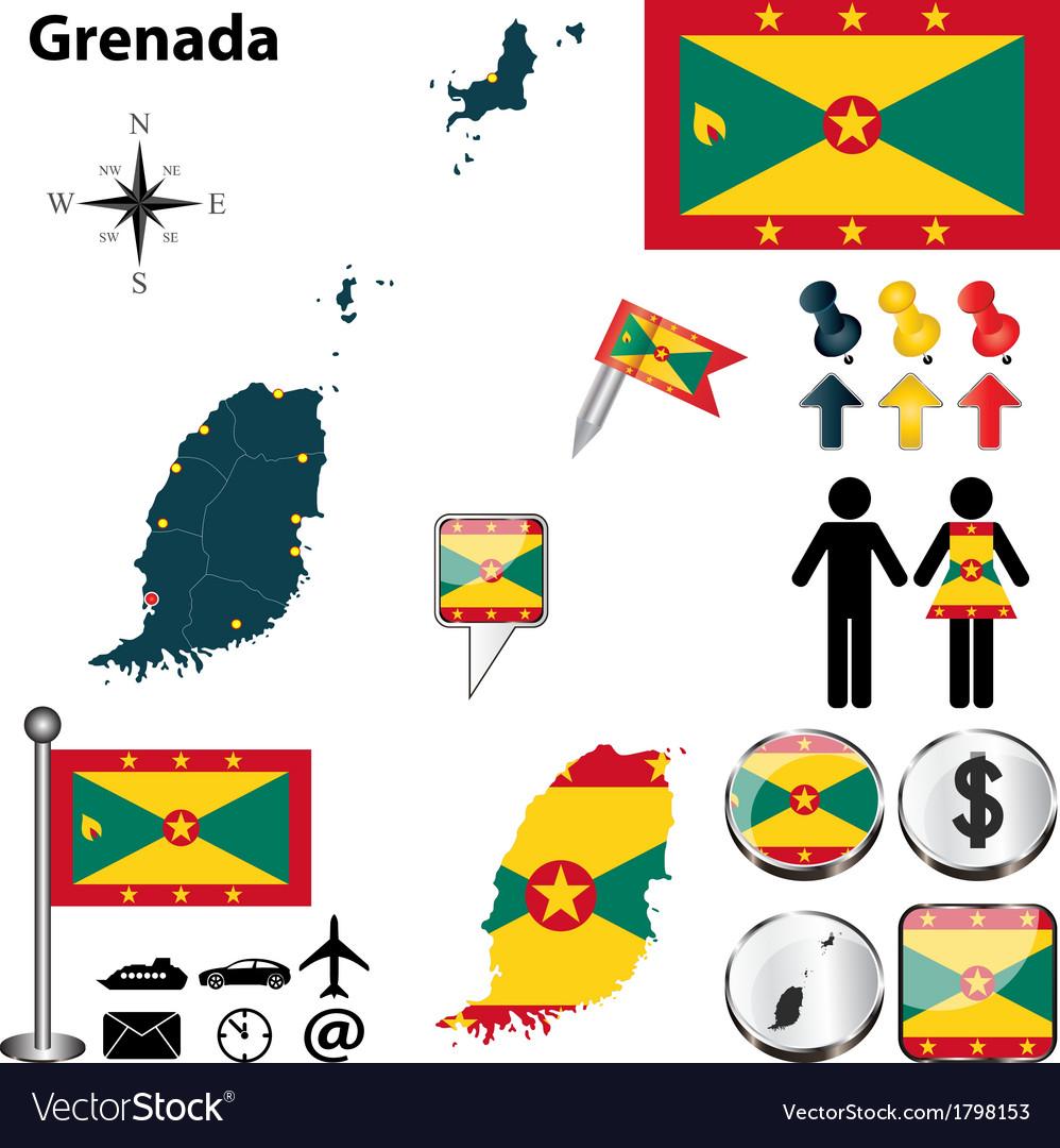 Grenada map vector   Price: 1 Credit (USD $1)