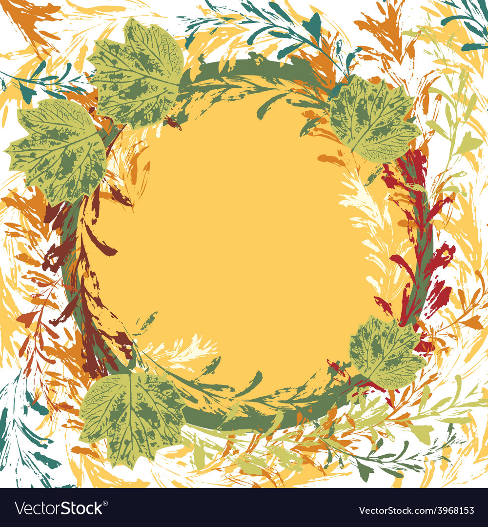 Set of prints of leaves on an orange background vector | Price: 1 Credit (USD $1)