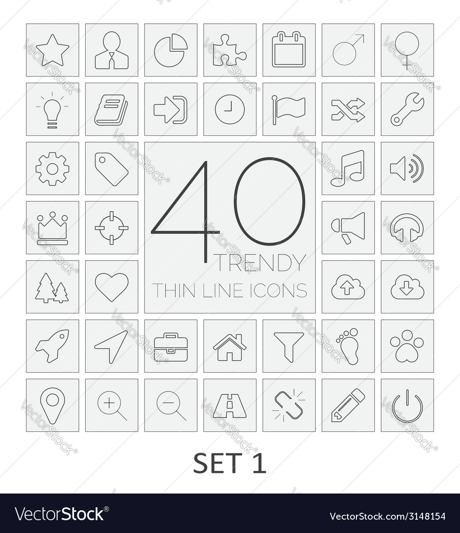 40 thin line icons set 1 vector | Price: 1 Credit (USD $1)