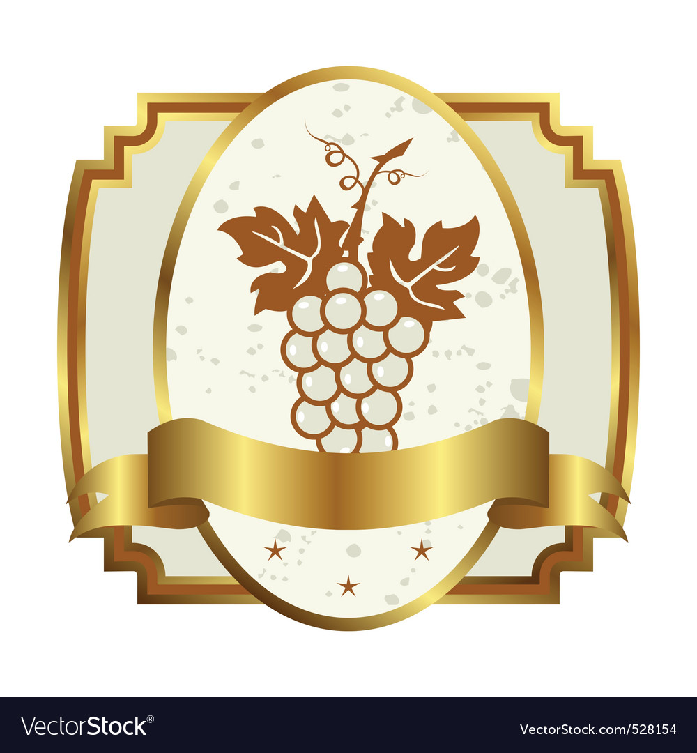 Decorative gold frame label with grapevine vector | Price: 1 Credit (USD $1)