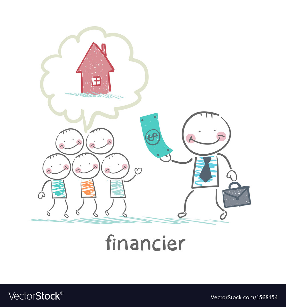 Financier gives money to people to build a house vector | Price: 1 Credit (USD $1)