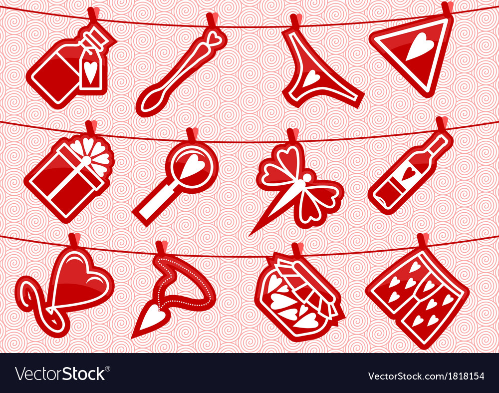 Hanging love symbols vector | Price: 1 Credit (USD $1)