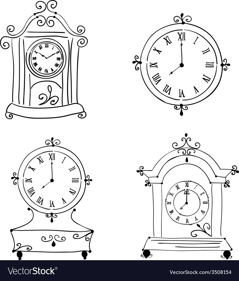 Old vintage clock hand drawn vector | Price: 1 Credit (USD $1)