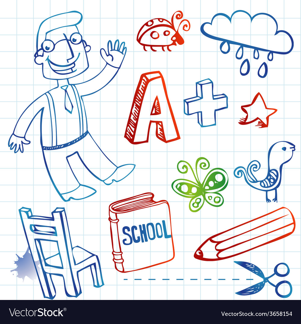 School doodles set vector | Price: 1 Credit (USD $1)