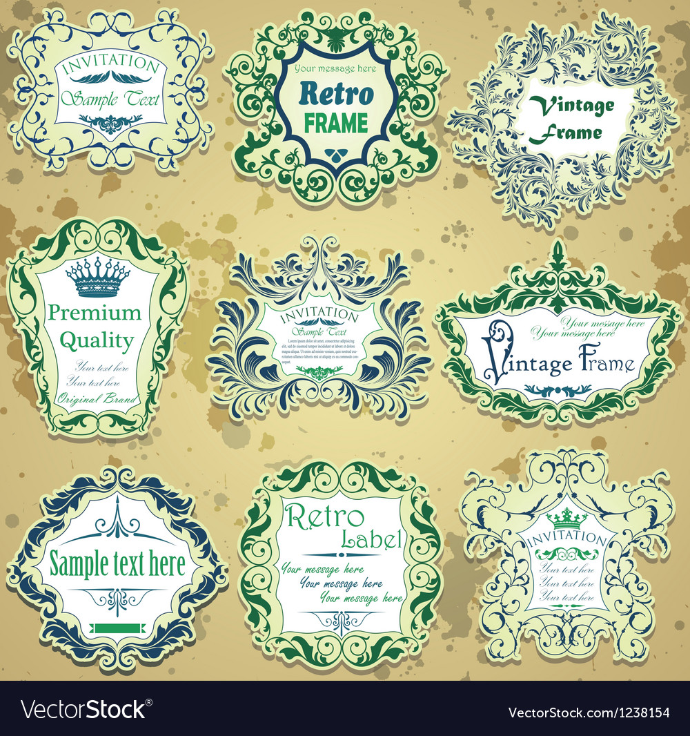 Set of green and blue calligraphic design frames vector | Price: 3 Credit (USD $3)